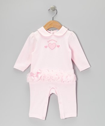Pink 'Sweetheart' Ruffle Playsuit - Infant