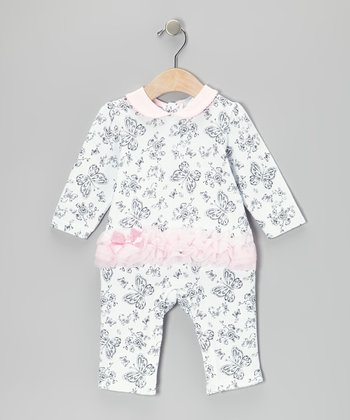 Pink Butterfly Ruffle Playsuit - Infant