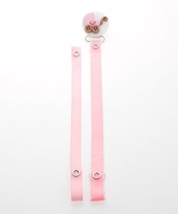 Pink & White Polka Dot Stroller Pacifier Clip Set
