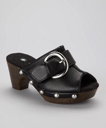 Black Buckle Peep-Toe Mule