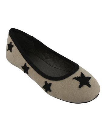 Beige & Black Star Flat