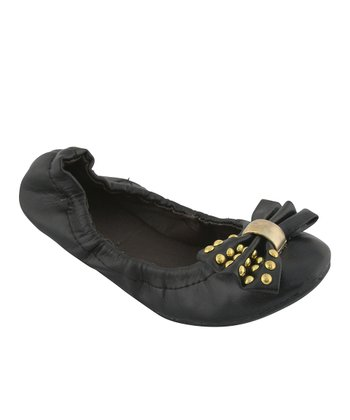 Black Studded Bow Ballet Flat