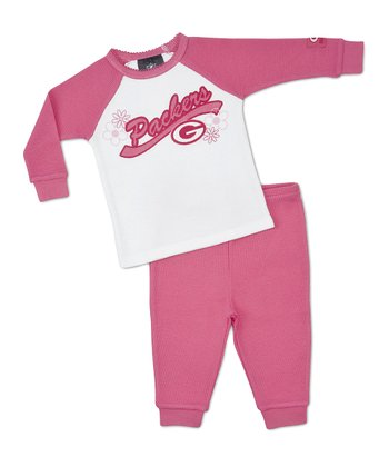 Pink Green Bay Packers Raglan Tee & Pants - Girls