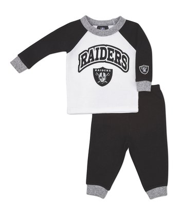 Gray Oakland Raiders Raglan Tee & Pants - Toddler