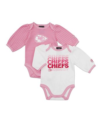 Pink Kansas City Chiefs Long-Sleeve Bodysuit Set - Infant