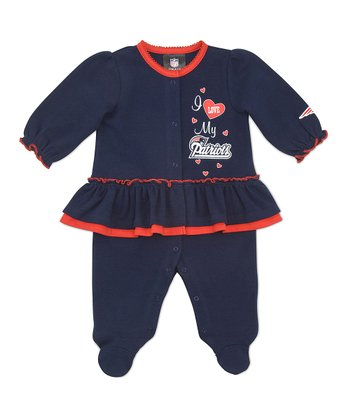 Blue New England Patriots Skirted Footie - Infant