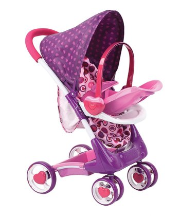 Pink & Purple Doll Stroller Set