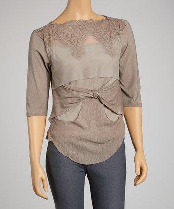 Saga Taupe Mesh Embroidered Three-Quarter Sleeve Top