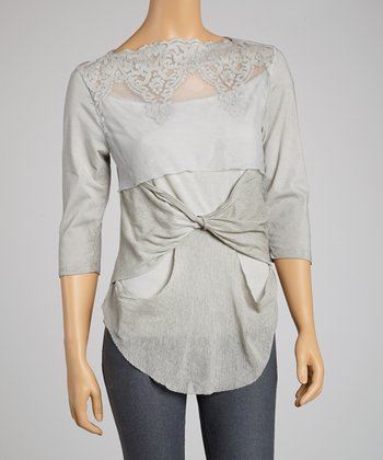 Saga Sand Mesh Embroidered Three-Quarter Sleeve Top