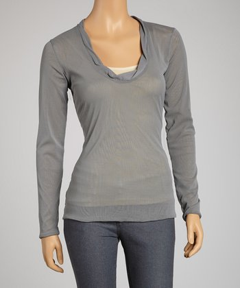 Saga Gray Mesh Long-Sleeve Top