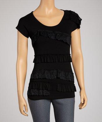 Saga Black Ruffle Short-Sleeve Top