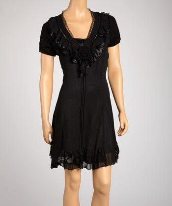 Saga Black Rose Short-Sleeve Dress