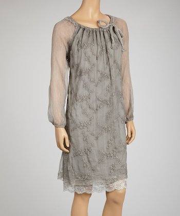 Gray Embroidered Silk Long-Sleeve Shift Dress