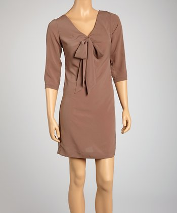 Saga Stone Bow Three-Quarter Sleeve Dress