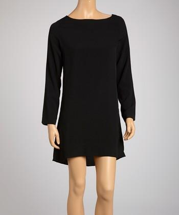 Saga Black Strap Back Shift Dress