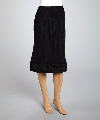 Saga Black Mesh A-Line Skirt