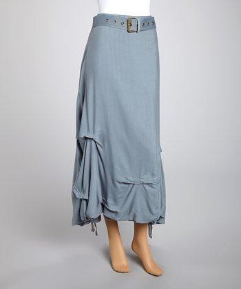 Saga Gray Lines Belted Skirt