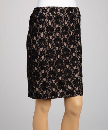 Saga Black & Nude Lace Skirt