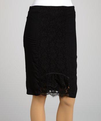 Saga Black Lace Pencil Skirt