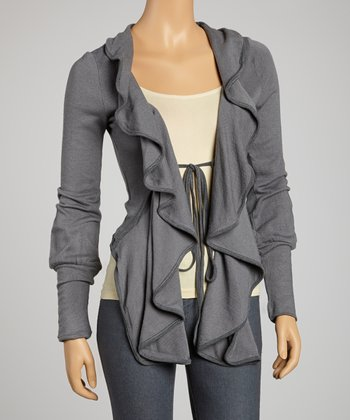 Gray Ruffle Open Cardigan