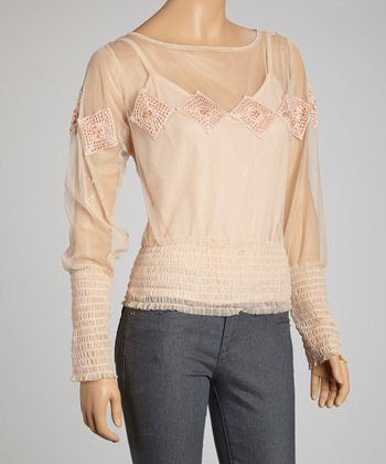 Pink Crocheted Diamond Mesh Long-Sleeve Top
