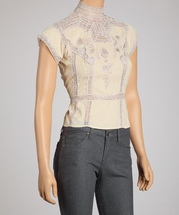 Cream & Yellow Lace Trim Short-Sleeve Top