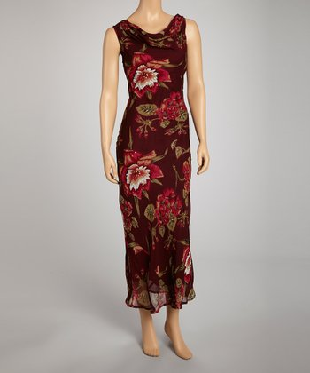 Burgundy Floral Drape Neck Maxi Dress