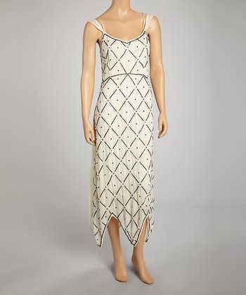 Cream & Black Crisscross Maxi Dress
