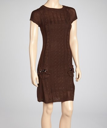 Brown Cable-Knit Sweater Dress
