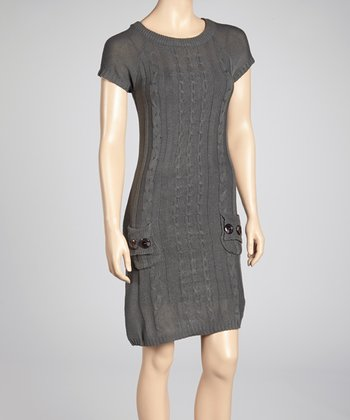 Gray Cable-Knit Sweater Dress