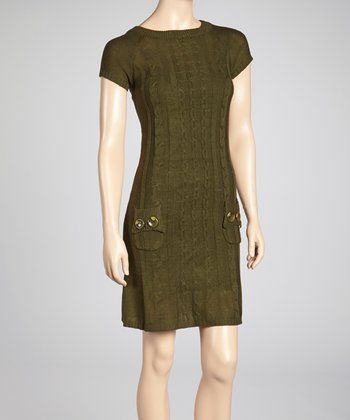 Olive Cable-Knit Sweater Dress
