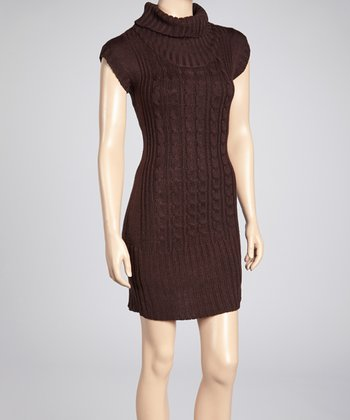 Brown Cable-Knit Turtleneck Sweater Dress
