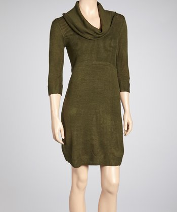 Olive Cowl Neck Sweater Dress