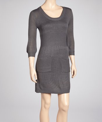 Gray Pocket Scoop Neck Sweater Dress
