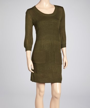 Olive Pocket Scoop Neck Sweater Dress