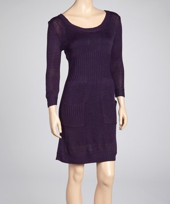 Purple Pocket Scoop Neck Sweater Dress