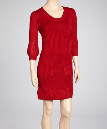 Red Pocket Scoop Neck Sweater Dress