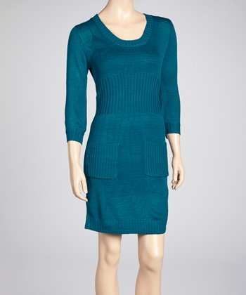 Teal Pocket Scoop Neck Sweater Dress
