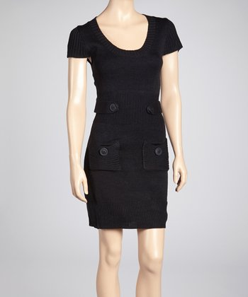 Black Tab-Waist Sweater Dress