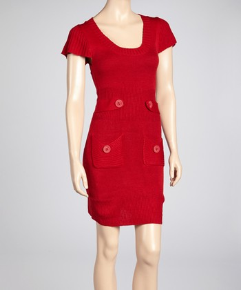Red Tab-Waist Sweater Dress