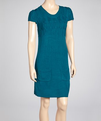 Teal Short-Sleeve Sweater Dress