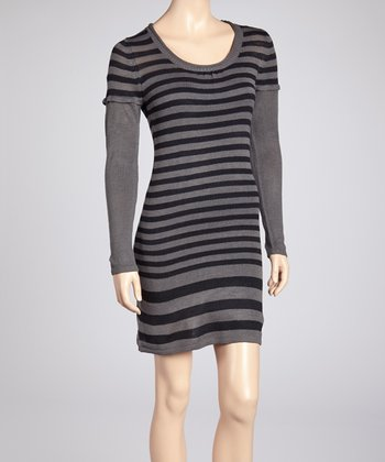 Gray & Black Stripe Sweater Dress