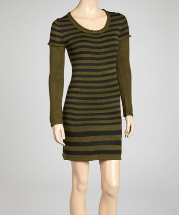 Olive & Black Stripe Sweater Dress