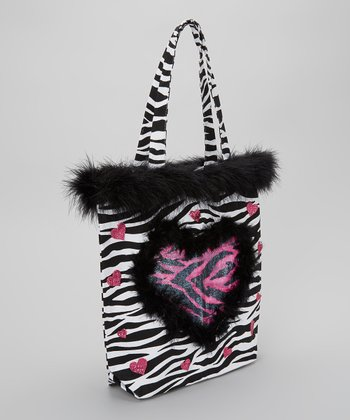 Black & White Zebra Feather Tote