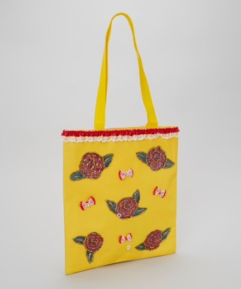 Yellow & Red Glitter Rose Tote