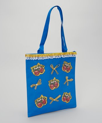Blue & Yellow Glitter Apple Tote