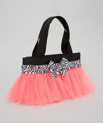 Black & Hot Pink Zebra Tutu Lunch Bag