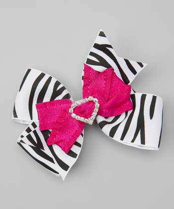 Black & Hot Pink Rhinestone Zebra Bow Clip