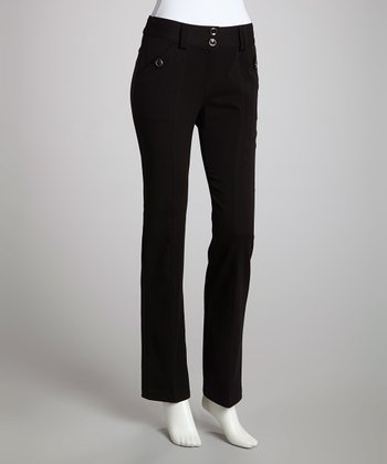 Black Button Trouser Pants