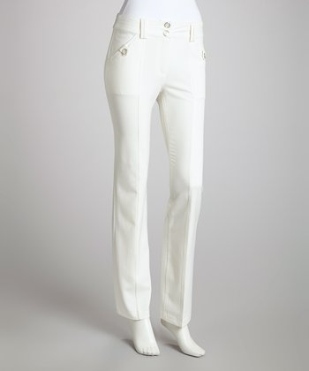 Ivory Button Trouser Pants